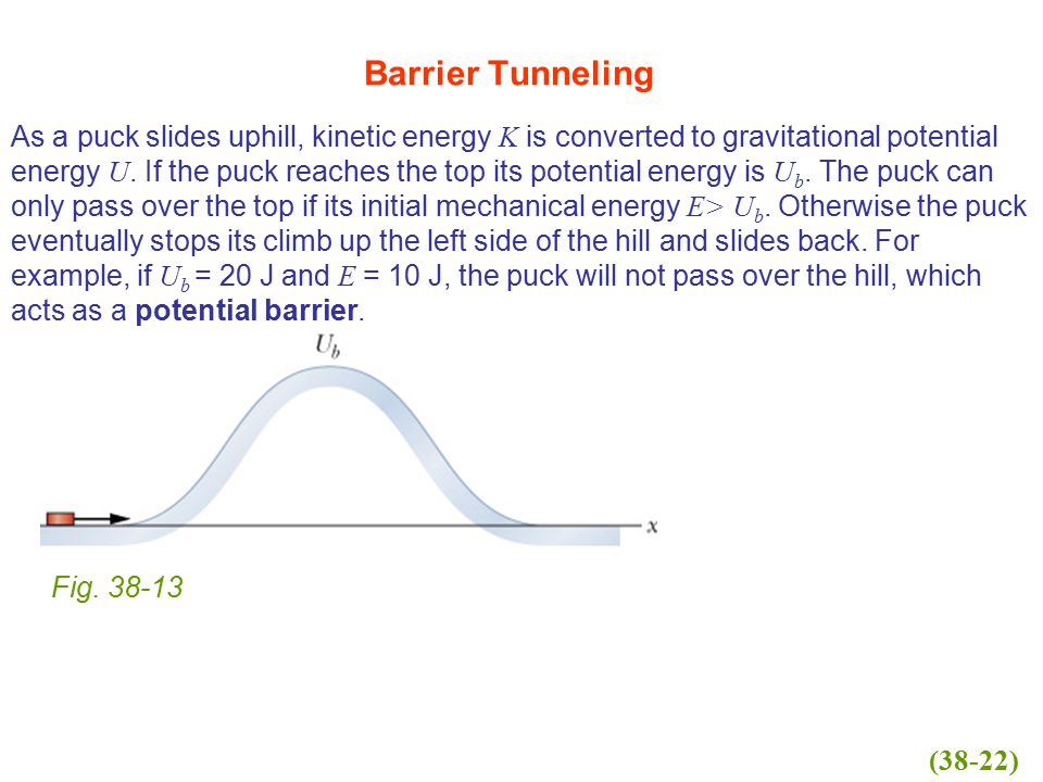 As a puck slides uphill, kinetic energy K is converted to gravitational potential energy U. If the puck reaches the top its potential energy is U b. T