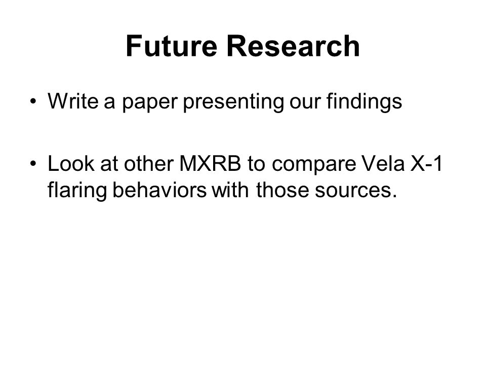 Future Research Write a paper presenting our findings Look at other MXRB to compare Vela X-1 flaring behaviors with those sources.
