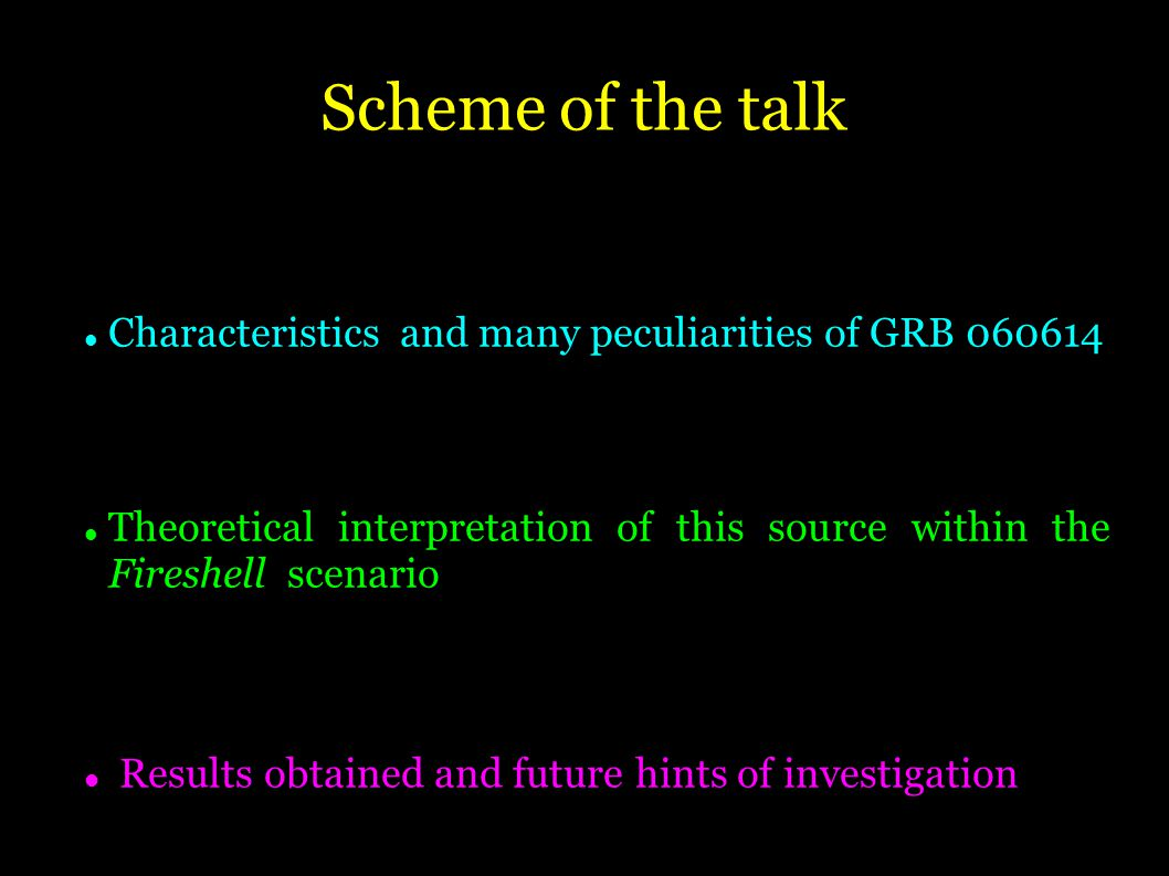 Scheme of the talk Characteristics and many peculiarities of GRB Theoretical interpretation of this source within the Fireshell scenario Results obtained and future hints of investigation