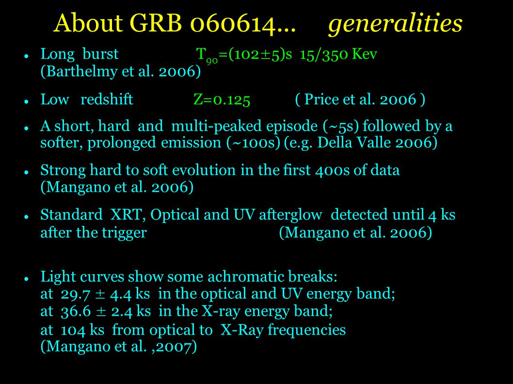 About GRB generalities Long burst T 90 =(102±5)s 15/350 Kev (Barthelmy et al.