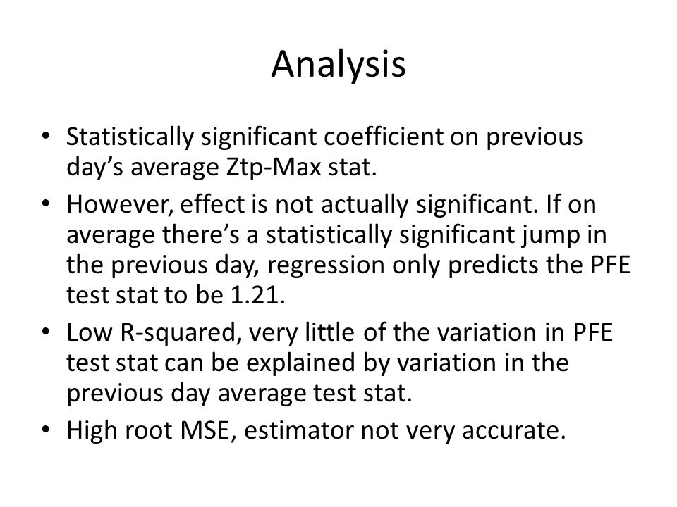 Analysis Statistically significant coefficient on previous day's average Ztp-Max stat.