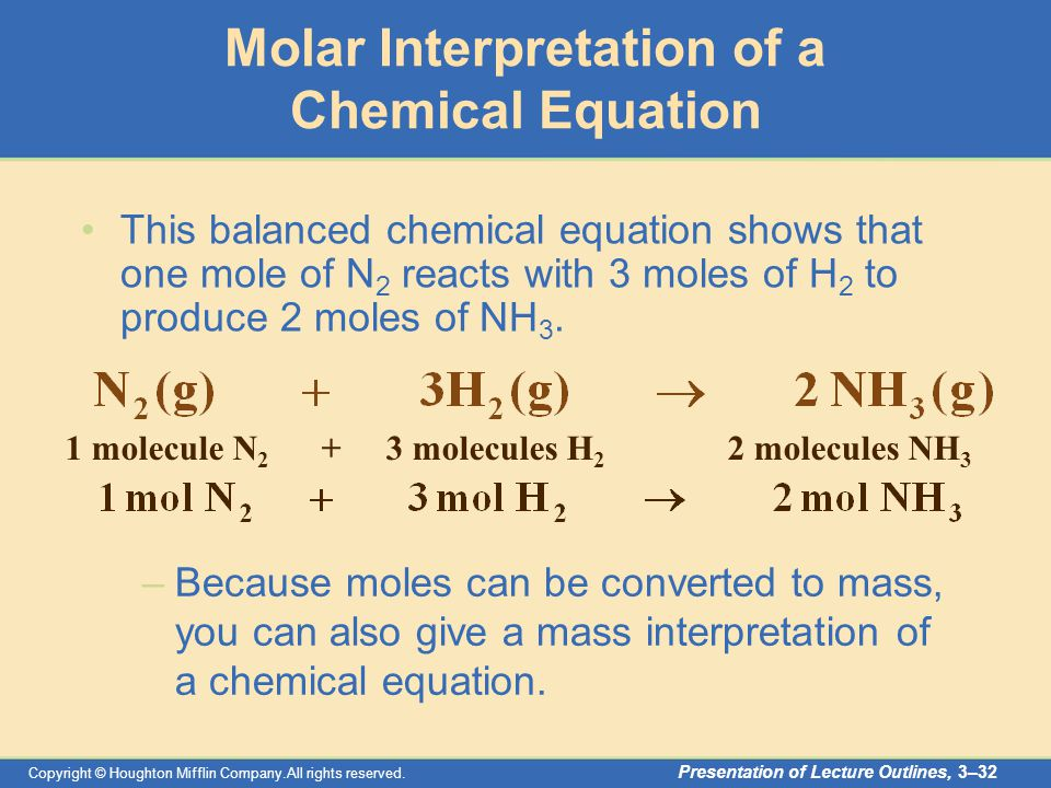 Copyright © Houghton Mifflin Company.All rights reserved. Presentation of Lecture Outlines, 3–32 This balanced chemical equation shows that one mole o