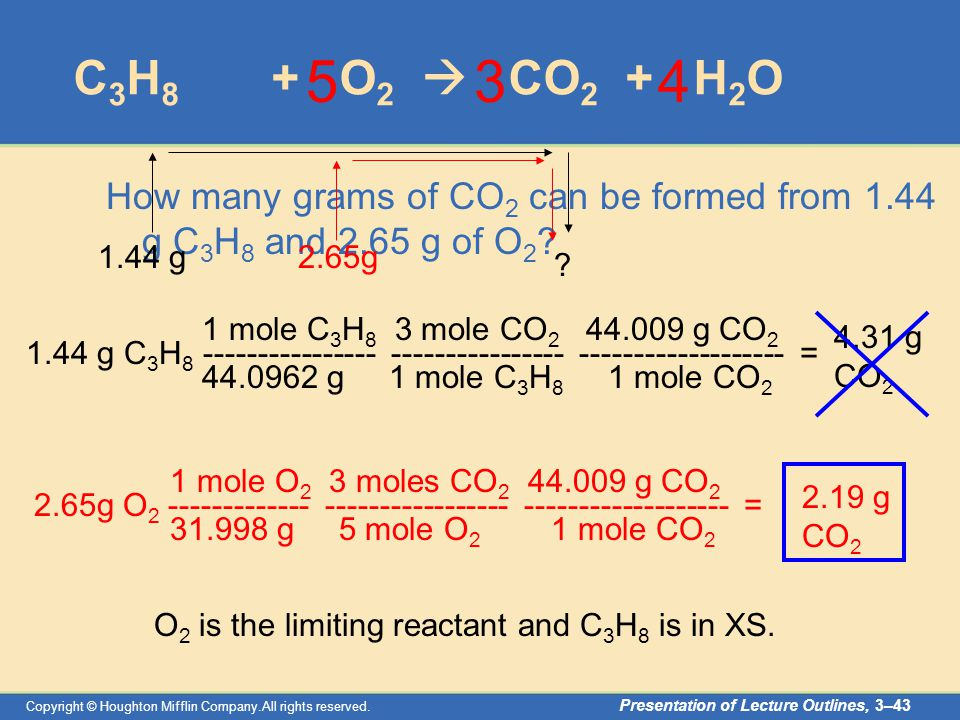 Copyright © Houghton Mifflin Company.All rights reserved. Presentation of Lecture Outlines, 3–43 C 3 H 8 + O 2  CO 2 + H 2 O How many grams of CO 2 c