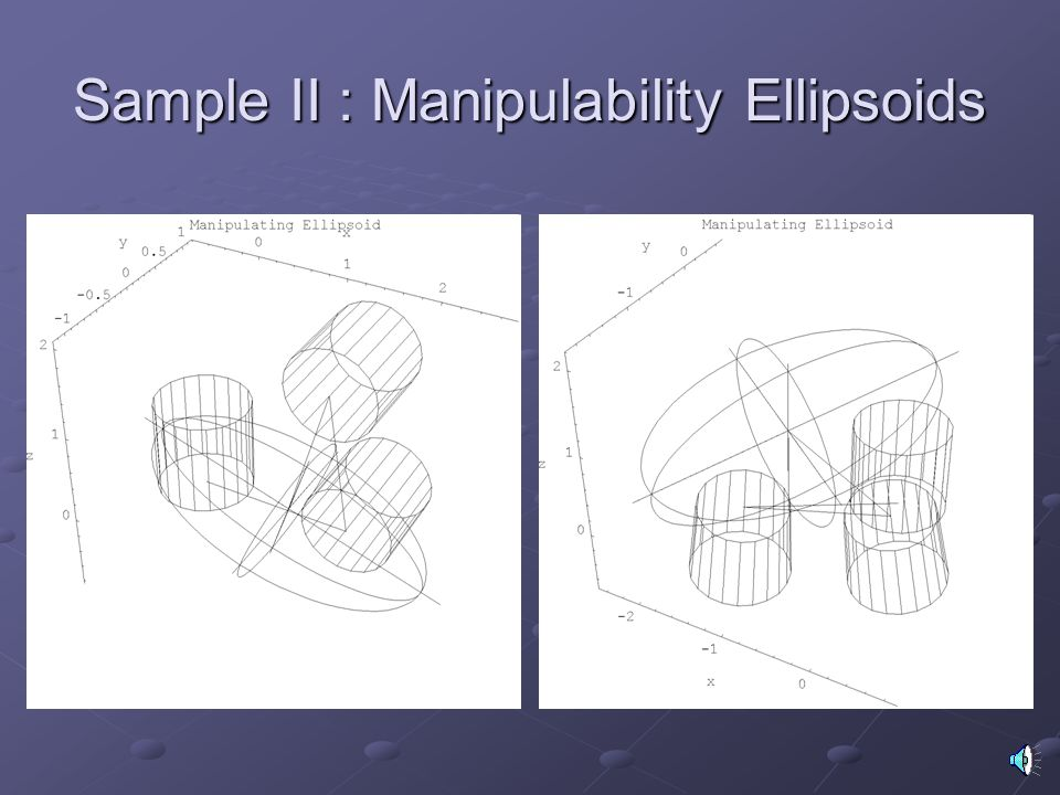 Sample II : Manipulability Ellipsoids
