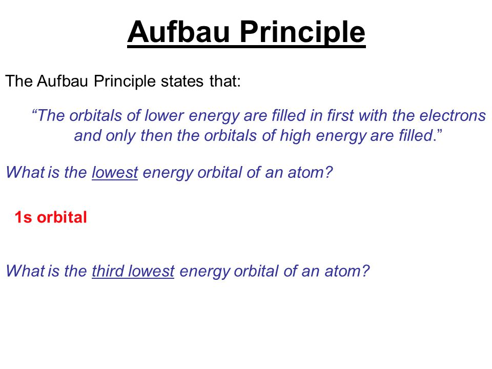 """The Aufbau Principle states that: """"The orbitals of lower energy are filled in first with the electrons and only then the orbitals of high energy are f"""