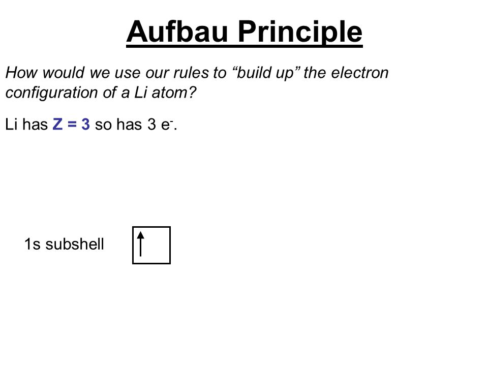 """1s subshell How would we use our rules to """"build up"""" the electron configuration of a Li atom? Li has Z = 3 so has 3 e -. Aufbau Principle"""