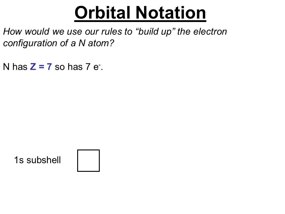"""1s subshell How would we use our rules to """"build up"""" the electron configuration of a N atom? N has Z = 7 so has 7 e -. Orbital Notation"""