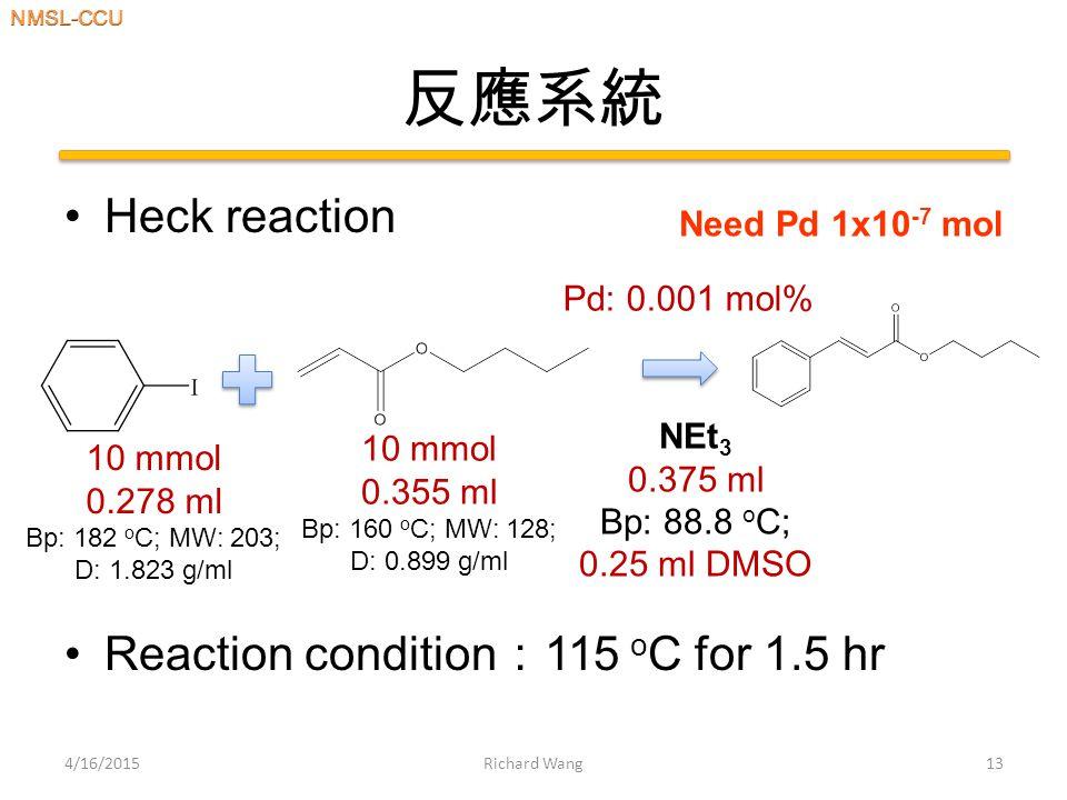 反應系統 Heck reaction Reaction condition : 115 o C for 1.5 hr 4/16/2015Richard Wang13 10 mmol 0.278 ml Bp: 182 o C; MW: 203; D: 1.823 g/ml 10 mmol 0.355 ml Bp: 160 o C; MW: 128; D: 0.899 g/ml Pd: 0.001 mol% NEt 3 0.375 ml Bp: 88.8 o C; 0.25 ml DMSO Need Pd 1x10 -7 mol