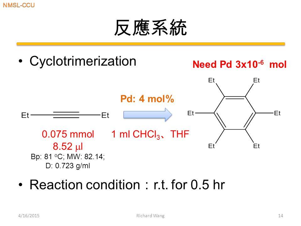 反應系統 Cyclotrimerization Reaction condition : r.t.