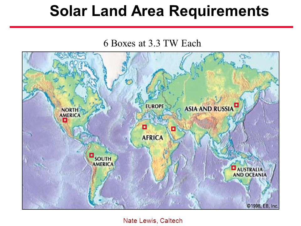 Solar Land Area Requirements 6 Boxes at 3.3 TW Each Nate Lewis, Caltech