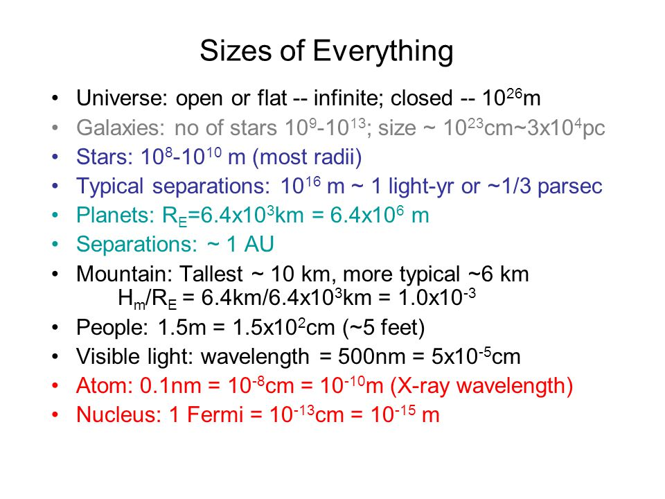 Sizes of Everything Universe: open or flat -- infinite; closed -- 10 26 m Galaxies: no of stars 10 9 -10 13 ; size ~ 10 23 cm~3x10 4 pc Stars: 10 8 -10 10 m (most radii) Typical separations: 10 16 m ~ 1 light-yr or ~1/3 parsec Planets: R E =6.4x10 3 km = 6.4x10 6 m Separations: ~ 1 AU Mountain: Tallest ~ 10 km, more typical ~6 km H m /R E = 6.4km/6.4x10 3 km = 1.0x10 -3 People: 1.5m = 1.5x10 2 cm (~5 feet) Visible light: wavelength = 500nm = 5x10 -5 cm Atom: 0.1nm = 10 -8 cm = 10 -10 m (X-ray wavelength) Nucleus: 1 Fermi = 10 -13 cm = 10 -15 m
