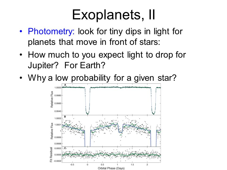 Exoplanets, II Photometry: look for tiny dips in light for planets that move in front of stars: How much to you expect light to drop for Jupiter? For