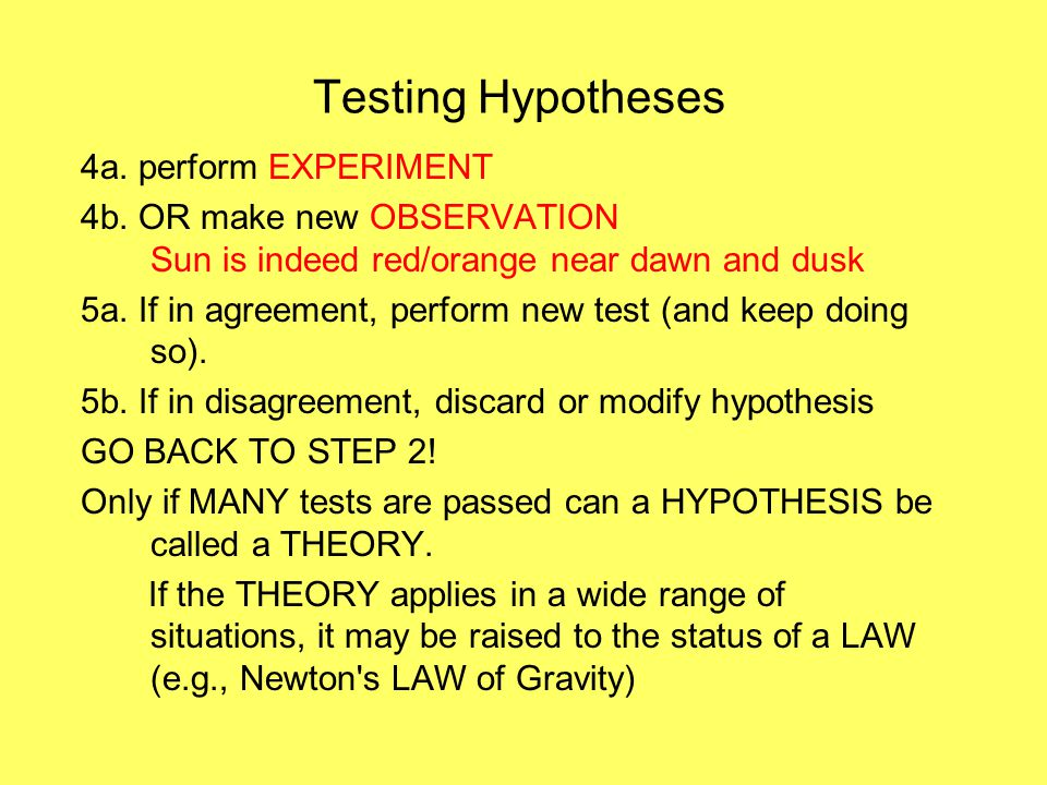 Testing Hypotheses 4a. perform EXPERIMENT 4b. OR make new OBSERVATION Sun is indeed red/orange near dawn and dusk 5a. If in agreement, perform new tes