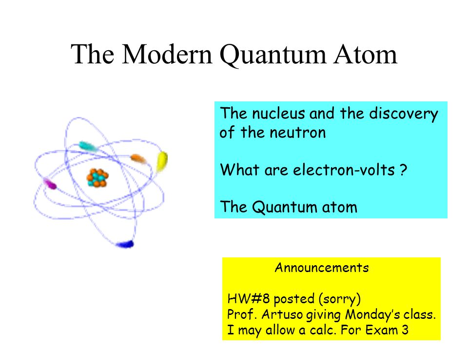 The Modern Quantum Atom The nucleus and the discovery of the neutron What are electron-volts ? The Quantum atom Announcements HW#8 posted (sorry) Prof