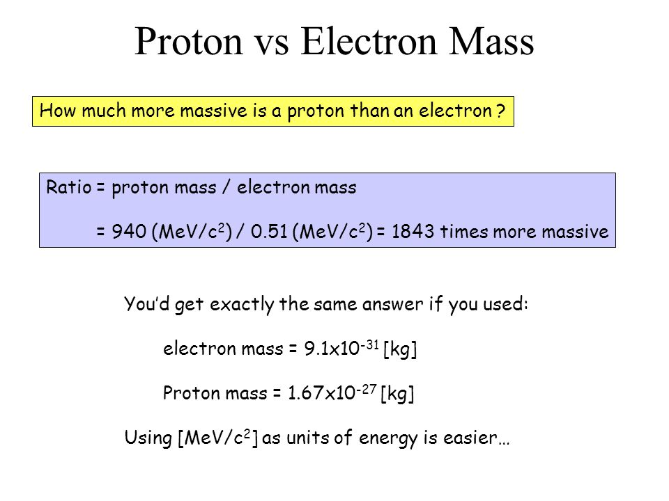 Proton vs Electron Mass How much more massive is a proton than an electron .