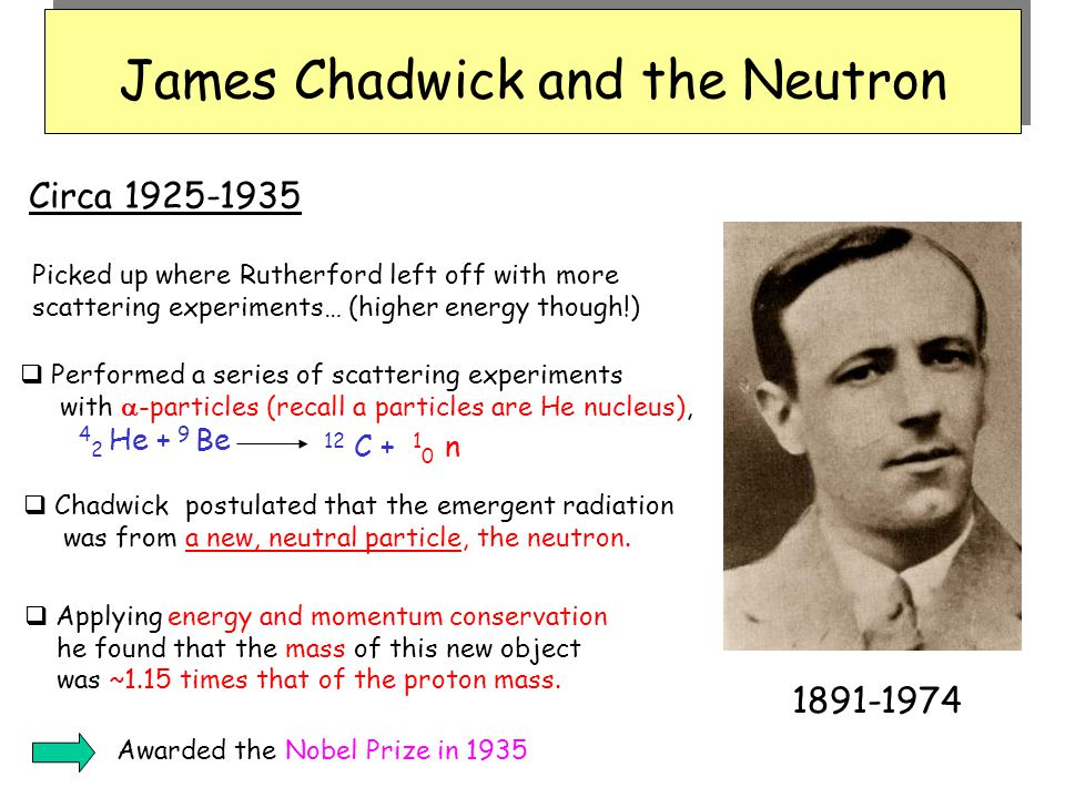 James Chadwick and the Neutron Awarded the Nobel Prize in 1935 1891-1974 Circa 1925-1935  Performed a series of scattering experiments with  -partic