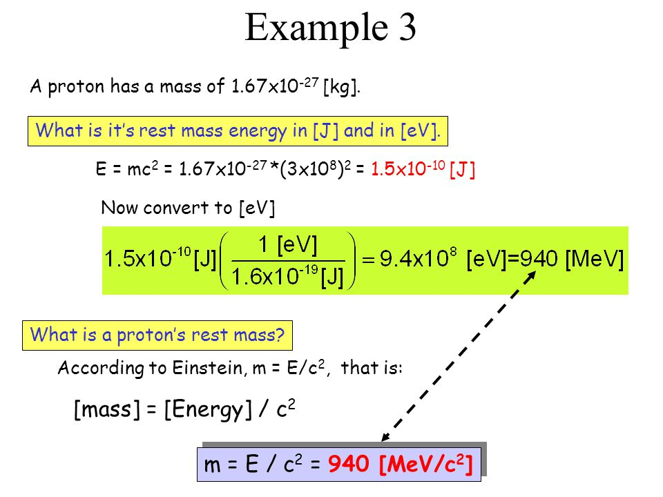 Example 3 A proton has a mass of 1.67x10 -27 [kg]. E = mc 2 = 1.67x10 -27 *(3x10 8 ) 2 = 1.5x10 -10 [J] Now convert to [eV] What is a proton's rest ma