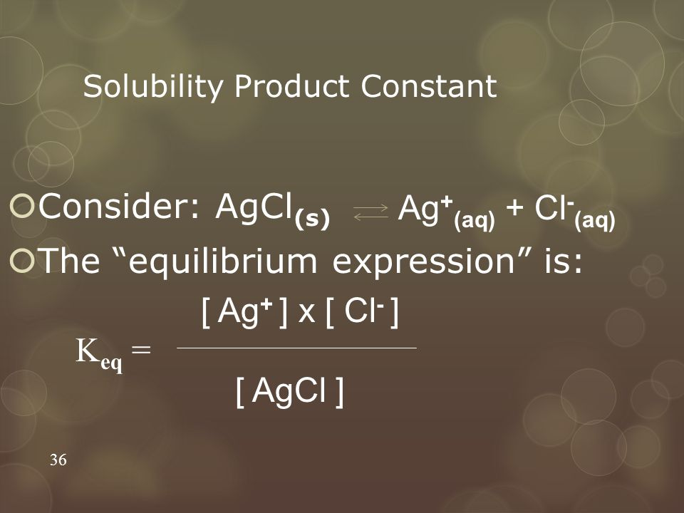 """Solubility Product Constant  Consider: AgCl (s)  The """"equilibrium expression"""" is: 36 K eq = Ag + (aq) + Cl - (aq) [ Ag + ] x [ Cl - ] [ AgCl ]"""