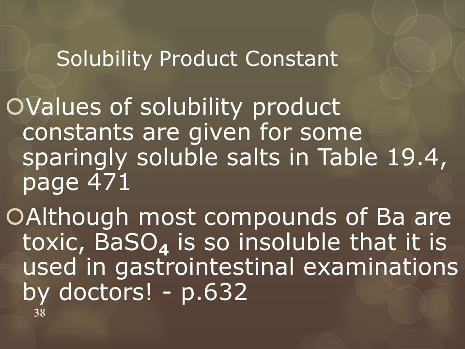 Solubility Product Constant  Values of solubility product constants are given for some sparingly soluble salts in Table 19.4, page 471  Although most compounds of Ba are toxic, BaSO 4 is so insoluble that it is used in gastrointestinal examinations by doctors.
