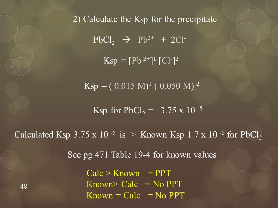 48 2) Calculate the Ksp for the precipitate PbCl 2  Pb 2+ + 2Cl - Ksp = [Pb 2+ ] 1 [Cl - ] 2 Ksp = ( 0.015 M) 1 ( 0.050 M) 2 Ksp for PbCl 2 = 3.75 x 10 -5 Calculated Ksp 3.75 x 10 -5 is > Known Ksp 1.7 x 10 -5 for PbCl 2 Calc > Known = PPT Known> Calc = No PPT Known = Calc = No PPT See pg 471 Table 19-4 for known values