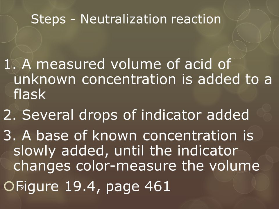 Steps - Neutralization reaction 1. A measured volume of acid of unknown concentration is added to a flask 2. Several drops of indicator added 3. A bas