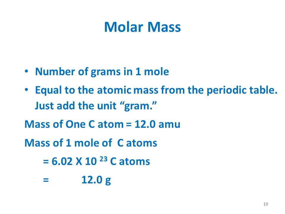 Molar Mass Number of grams in 1 mole Equal to the atomic mass from the periodic table.