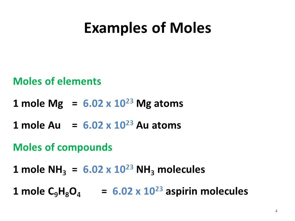 Examples of Moles Moles of elements 1 mole Mg = 6.02 x 10 23 Mg atoms 1 mole Au = 6.02 x 10 23 Au atoms Moles of compounds 1 mole NH 3 = 6.02 x 10 23 NH 3 molecules 1 mole C 9 H 8 O 4 = 6.02 x 10 23 aspirin molecules 4