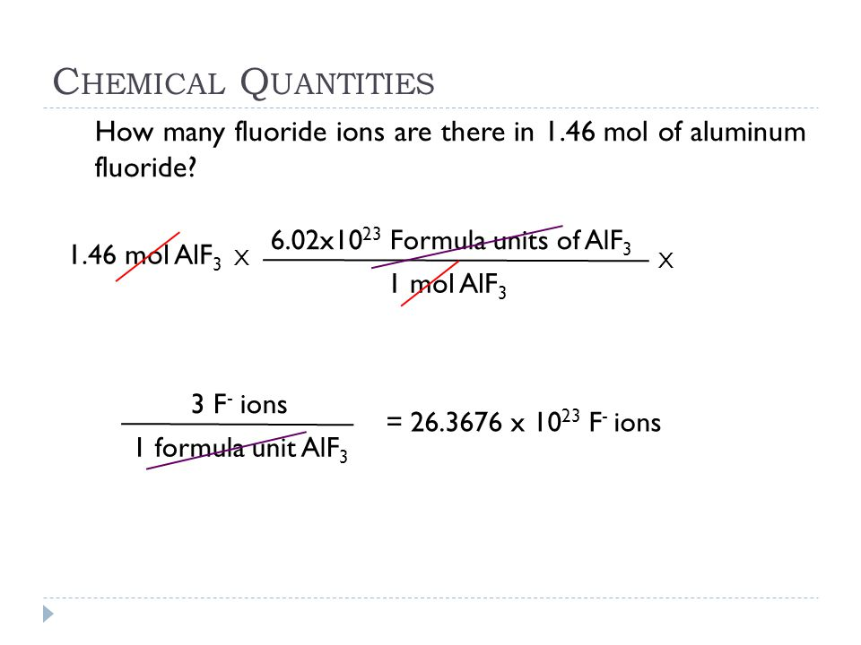 C HEMICAL Q UANTITIES 1.46 mol AlF 3 X 1 mol AlF 3 6.02x10 23 Formula units of AlF 3 How many fluoride ions are there in 1.46 mol of aluminum fluoride