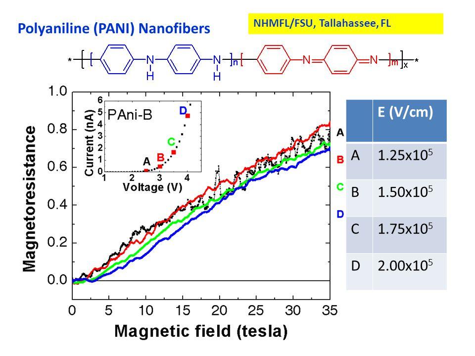 Polyaniline (PANI) Nanofibers NHMFL/FSU, Tallahassee, FL E (V/cm) A1.25x10 5 B1.50x10 5 C1.75x10 5 D2.00x10 5