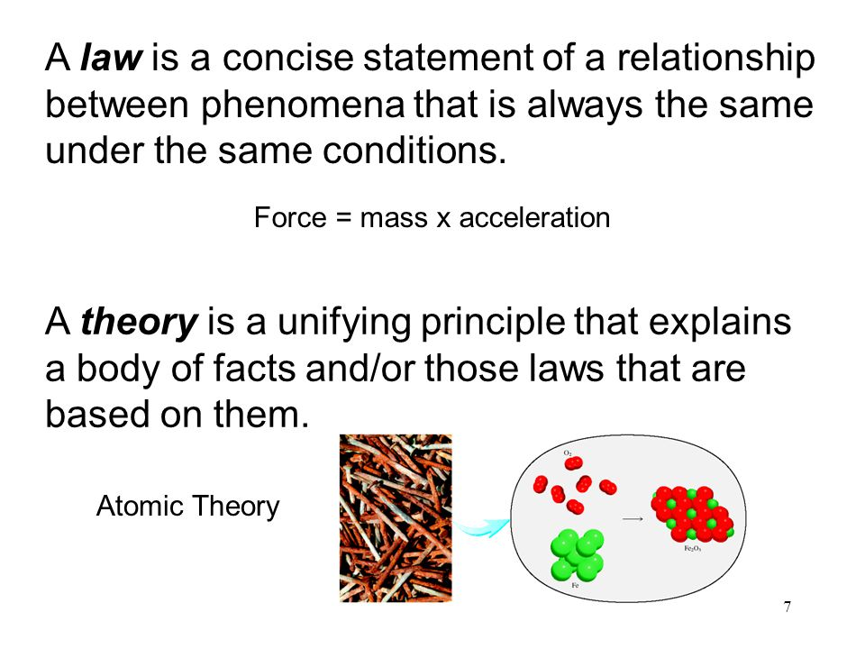 7 A theory is a unifying principle that explains a body of facts and/or those laws that are based on them. A law is a concise statement of a relations