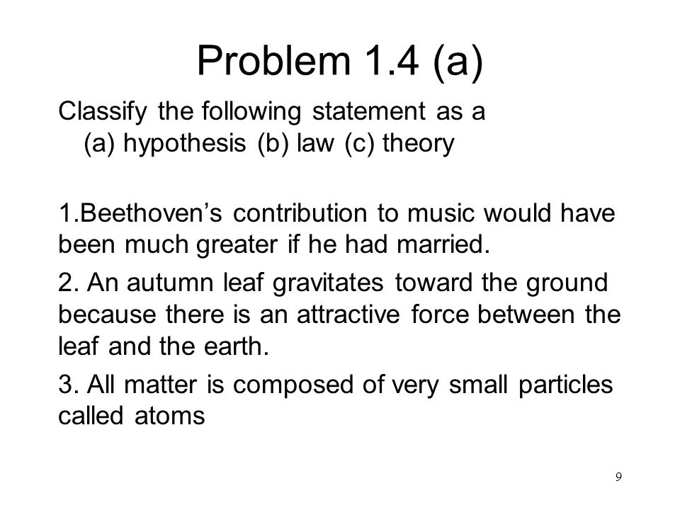 Problem 1.4 (a) Classify the following statement as a (a) hypothesis (b) law (c) theory 1.Beethoven's contribution to music would have been much great