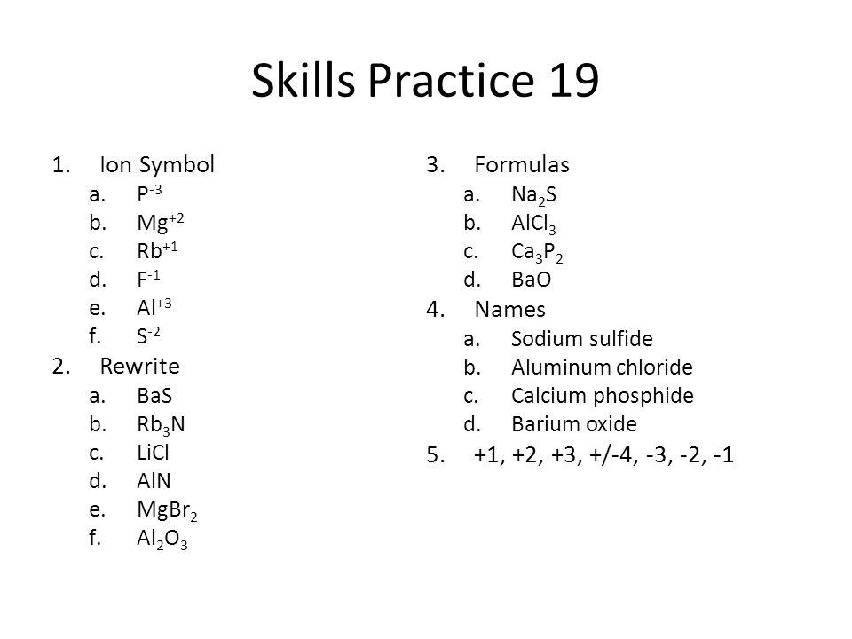 Skills Practice 19 1.Ion Symbol a.P -3 b.Mg +2 c.Rb +1 d.F -1 e.Al +3 f.S -2 2.Rewrite a.BaS b.Rb 3 N c.LiCl d.AlN e.MgBr 2 f.Al 2 O 3 3.Formulas a.Na