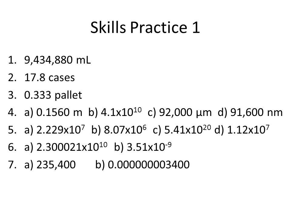 Skills Practice 1 1.9,434,880 mL 2.17.8 cases 3.0.333 pallet 4.a) 0.1560 m b) 4.1x10 10 c) 92,000 μm d) 91,600 nm 5.a) 2.229x10 7 b) 8.07x10 6 c) 5.41