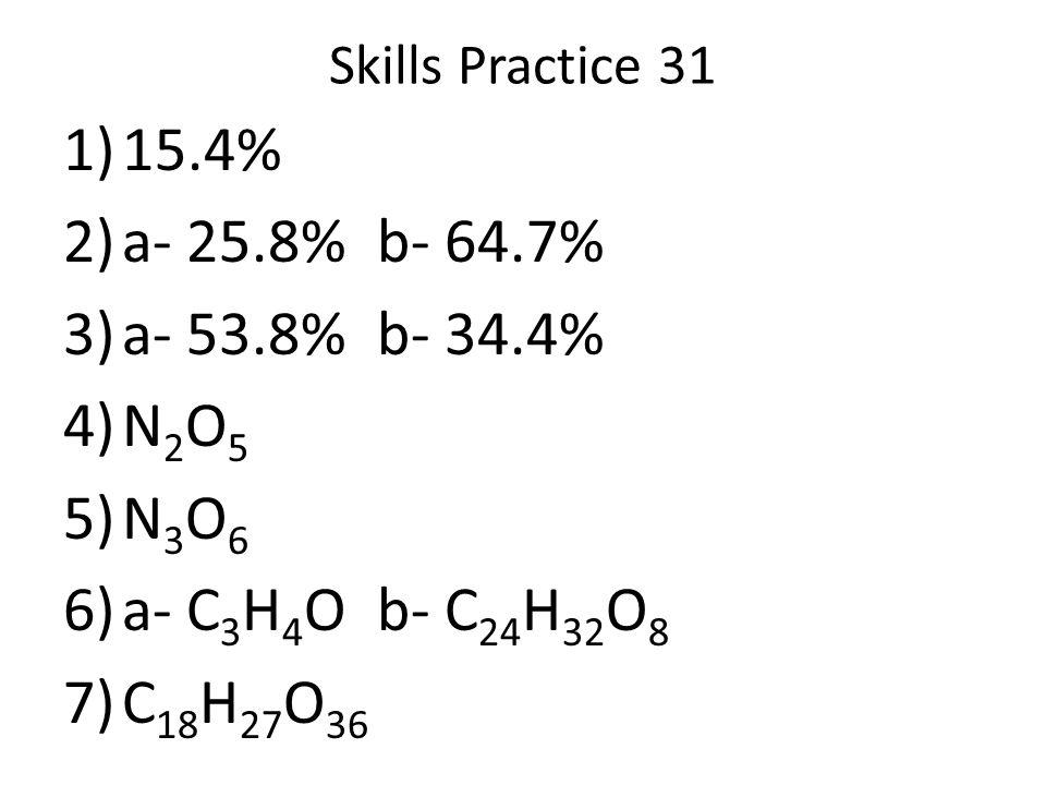 Skills Practice 31 1)15.4% 2)a- 25.8%b- 64.7% 3)a- 53.8%b- 34.4% 4)N 2 O 5 5)N 3 O 6 6)a- C 3 H 4 Ob- C 24 H 32 O 8 7)C 18 H 27 O 36