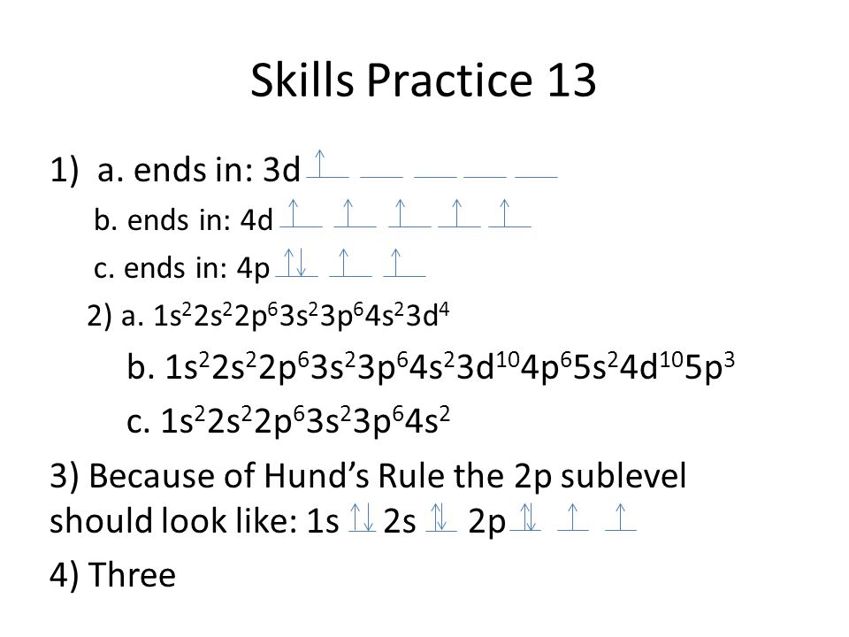 Skills Practice 13 1)a. ends in: 3d b. ends in: 4d c. ends in: 4p 2) a. 1s 2 2s 2 2p 6 3s 2 3p 6 4s 2 3d 4 b. 1s 2 2s 2 2p 6 3s 2 3p 6 4s 2 3d 10 4p 6