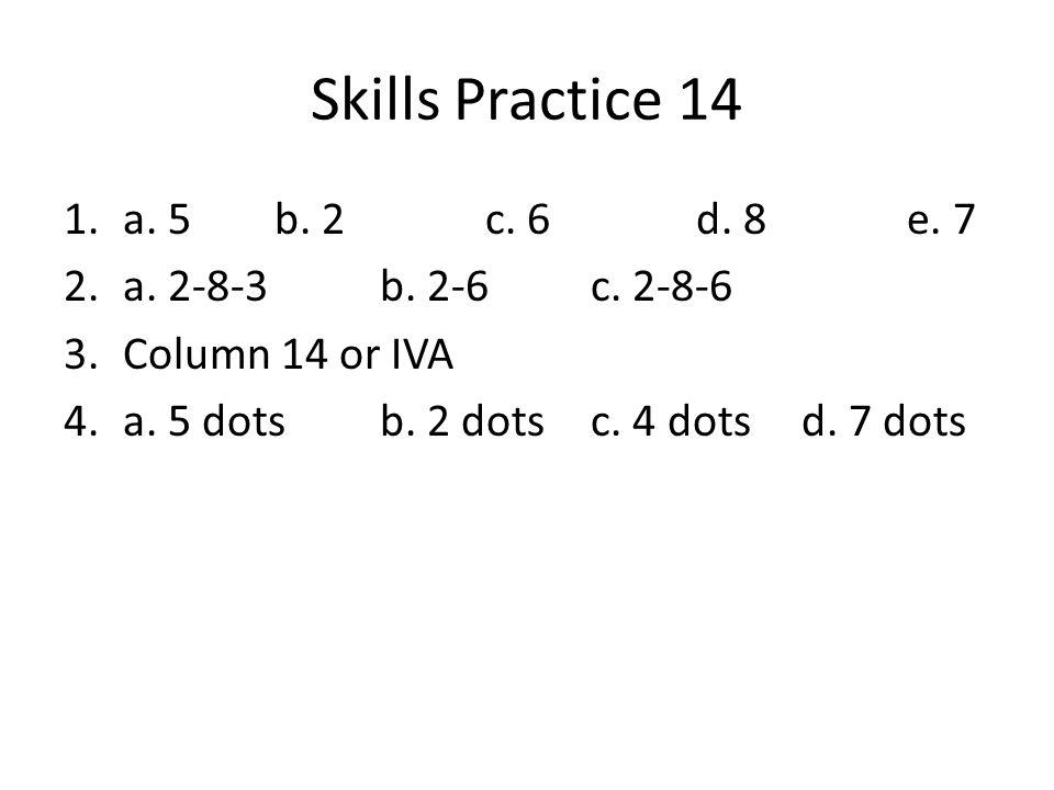 Skills Practice 14 1.a. 5 b. 2c. 6d. 8e. 7 2.a. 2-8-3b. 2-6c. 2-8-6 3.Column 14 or IVA 4.a. 5 dotsb. 2 dotsc. 4 dotsd. 7 dots