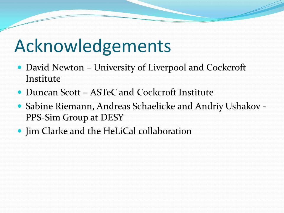 Acknowledgements David Newton – University of Liverpool and Cockcroft Institute Duncan Scott – ASTeC and Cockcroft Institute Sabine Riemann, Andreas S