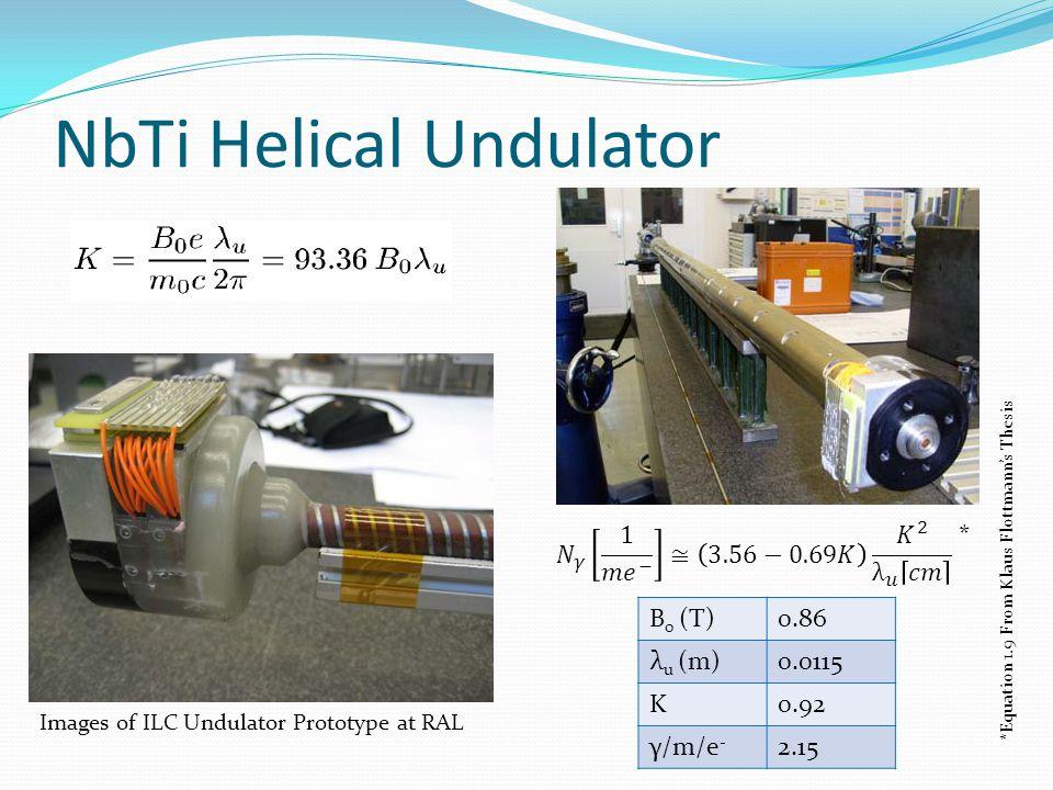 NbTi Helical Undulator B 0 (T)0.86 λ u (m)0.0115 K0.92 γ/m/e - 2.15 Images of ILC Undulator Prototype at RAL * *Equation 1.9 From Klaus Flottmann's Th