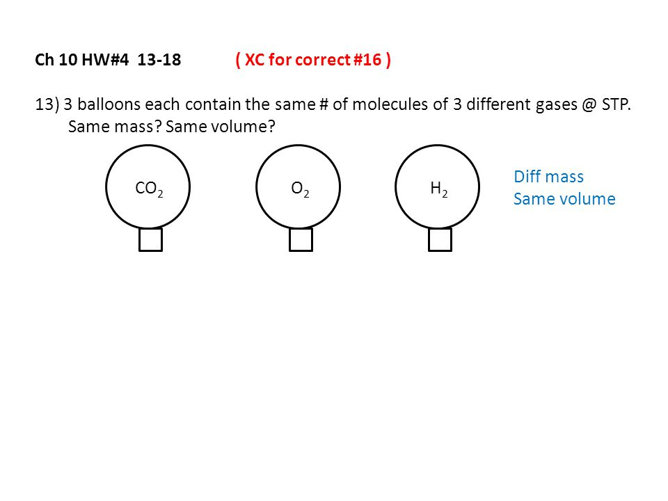 Ch 10 HW#4 13-18( XC for correct #16 ) 13) 3 balloons each contain the same # of molecules of 3 different gases @ STP. Same mass? Same volume? CO 2 O2