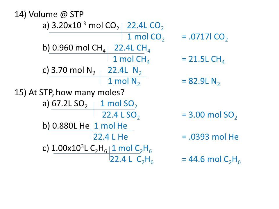 14) Volume @ STP a) 3.20x10 -3 mol CO 2 22.4L CO 2 1 mol CO 2 =.0717l CO 2 b) 0.960 mol CH 4 22.4L CH 4 1 mol CH 4 = 21.5L CH 4 c) 3.70 mol N 2 22.4L