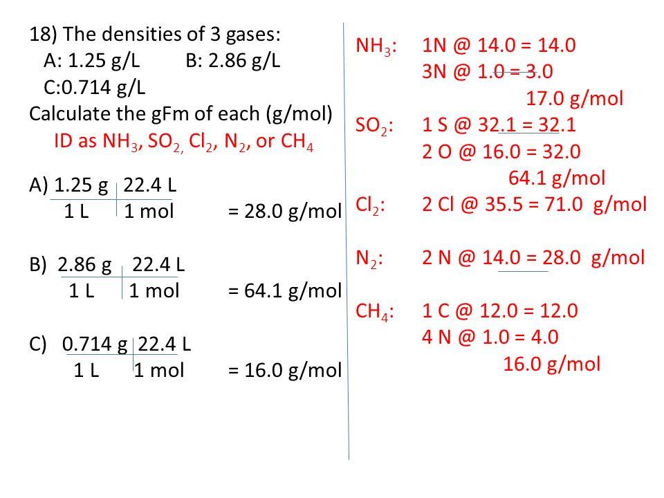 18) The densities of 3 gases: A: 1.25 g/L B: 2.86 g/L C:0.714 g/L Calculate the gFm of each (g/mol) ID as NH 3, SO 2, Cl 2, N 2, or CH 4 A)1.25 g 22.4