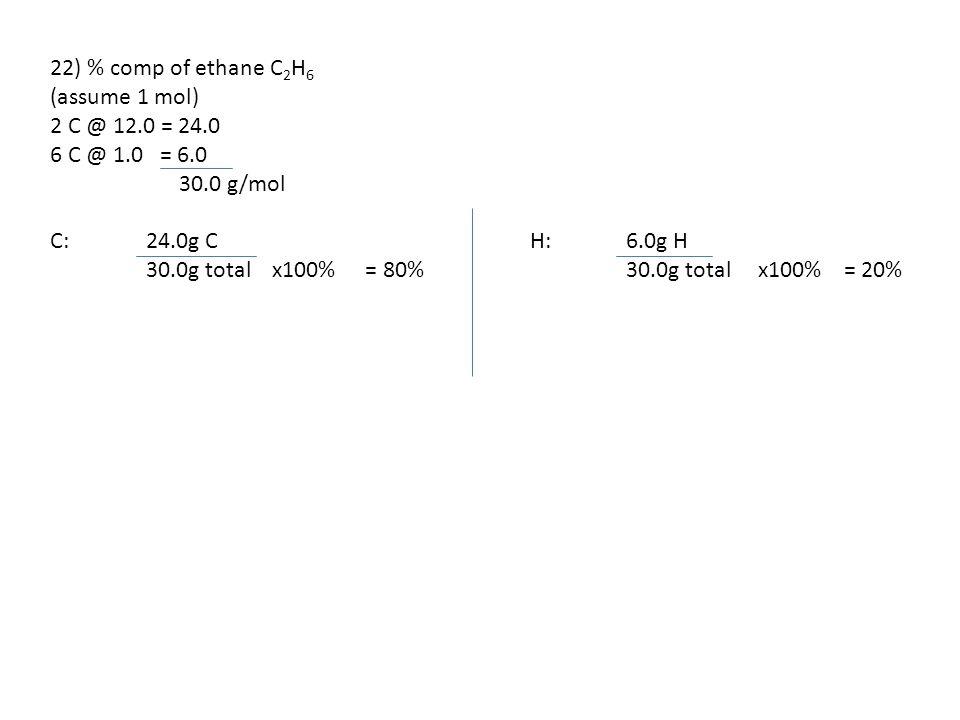 22) % comp of ethane C 2 H 6 (assume 1 mol) 2 C @ 12.0 = 24.0 6 C @ 1.0 = 6.0 30.0 g/mol C: 24.0g CH: 6.0g H 30.0g total x100% = 80%30.0g total x100%