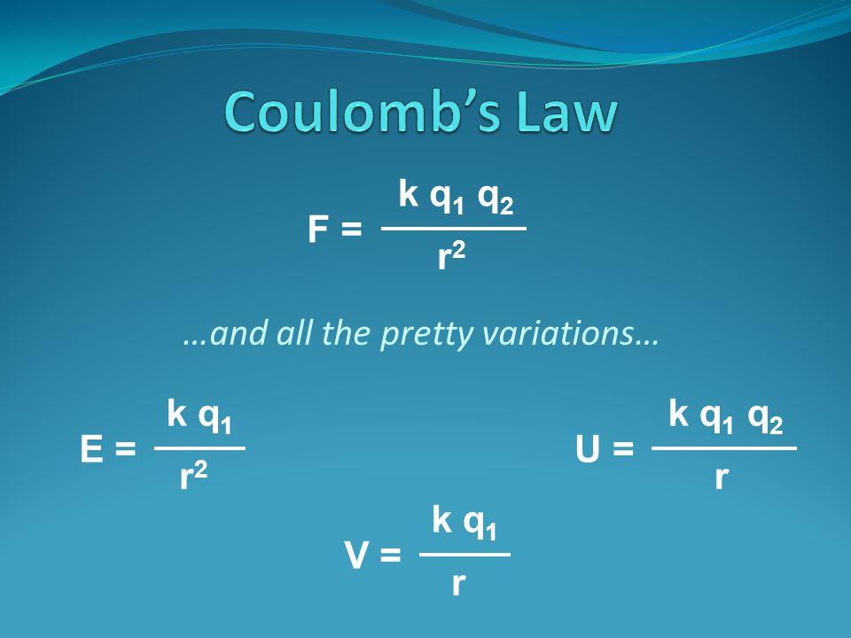 …and all the pretty variations… F = k q 1 q 2 r2r2 E = k q 1 r2r2 U = k q 1 q 2 r V = k q 1 r