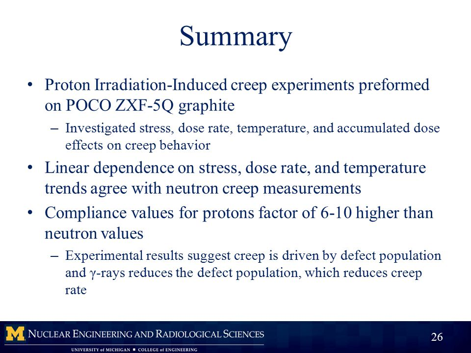 Summary Proton Irradiation-Induced creep experiments preformed on POCO ZXF-5Q graphite – Investigated stress, dose rate, temperature, and accumulated dose effects on creep behavior Linear dependence on stress, dose rate, and temperature trends agree with neutron creep measurements Compliance values for protons factor of 6-10 higher than neutron values – Experimental results suggest creep is driven by defect population and γ-rays reduces the defect population, which reduces creep rate 26