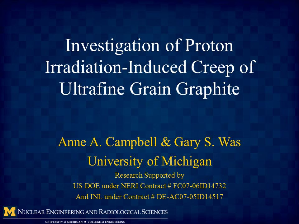 Investigation of Proton Irradiation-Induced Creep of Ultrafine Grain Graphite Anne A.