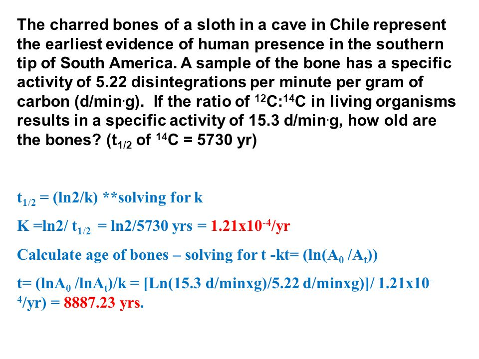 The charred bones of a sloth in a cave in Chile represent the earliest evidence of human presence in the southern tip of South America. A sample of th
