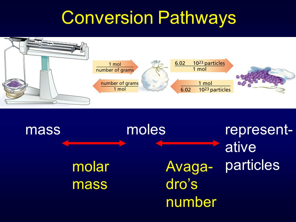 Conversion Pathways massmolesrepresent- ative particles molar mass Avaga- dro's number