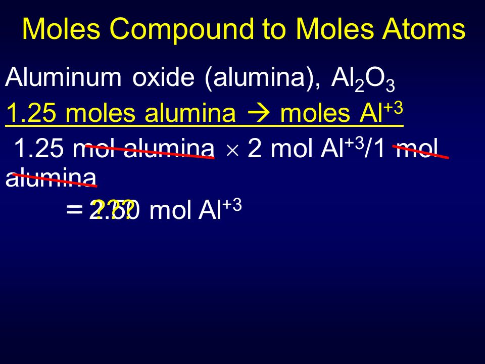 Moles Compound to Moles Atoms Aluminum oxide (alumina), Al 2 O 3 1.25 moles alumina  moles Al +3 1.25 mol alumina  2 mol Al +3 /1 mol alumina = 2.50