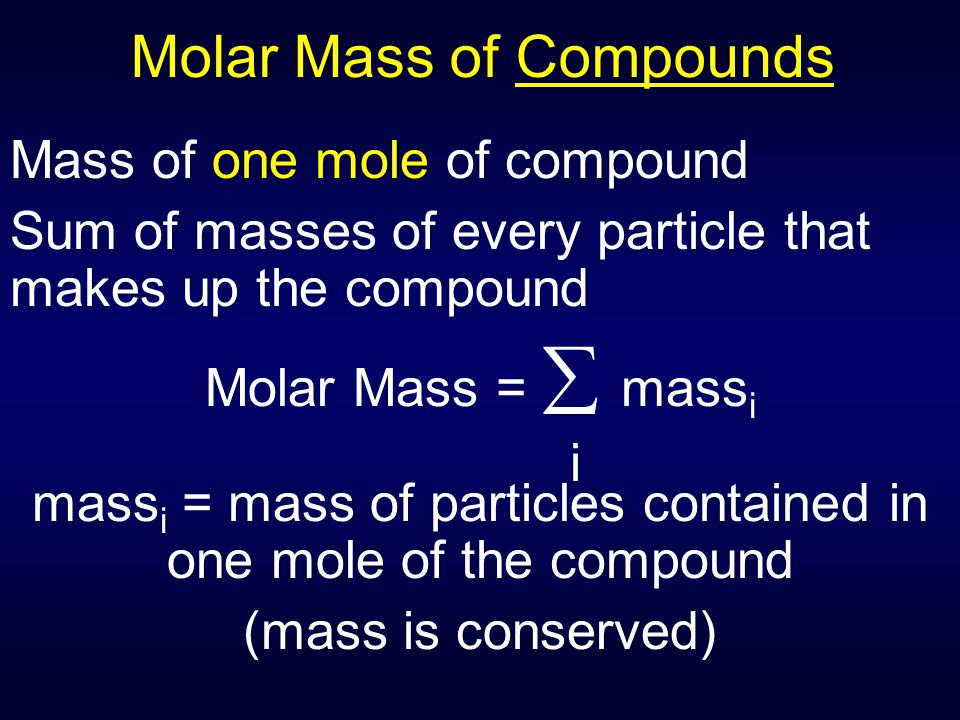 Molar Mass of Compounds Mass of one mole of compound Sum of masses of every particle that makes up the compound Molar Mass =  mass i mass i = mass of