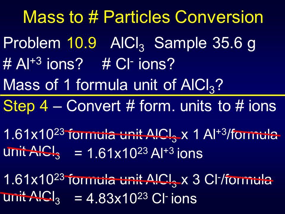Mass to # Particles Conversion Problem 10.9 AlCl 3 Sample 35.6 g # Al +3 ions? # Cl - ions? Mass of 1 formula unit of AlCl 3 ? Step 4 – Convert # form